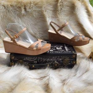 PRADA Patent Leather Flatform Strappy Heels Sz 37